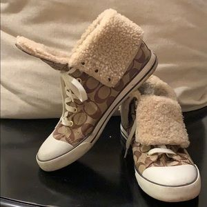 Coach fur lined high-top sneakers